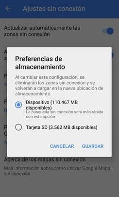 Google Maps 9.34.1 permite almacenar los mapas en la tarjeta SD