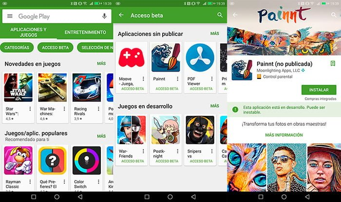 probar apps beta android