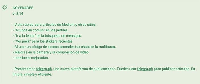 Novedades de la versión de Telegram 3.14
