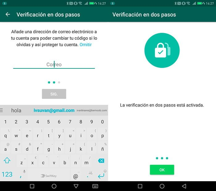 whatsapp verificación en dos pasos email
