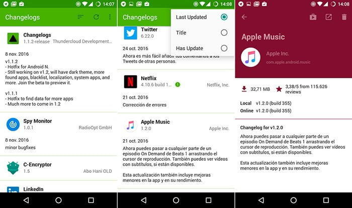 changelogs aplicacion android
