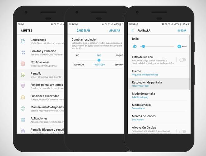Cómo ajustar la resolución de pantalla del Samsung Galaxy S7